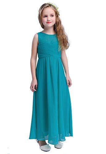 Happy Rose Mesh Chiffon Long Girls Dress Peacock Blue 18 -