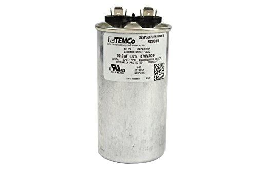 TEMCo Motor Run Capacitor RC0015 - 50 mfd 370 V VAC volt 50 uf Round HVAC TEMCo AC Electric