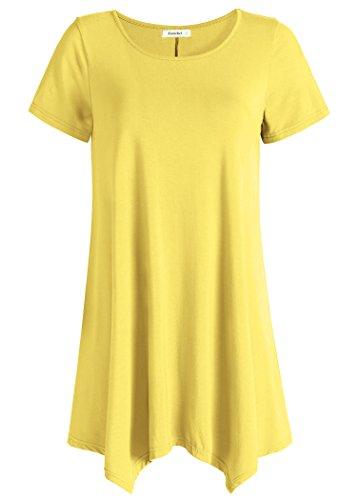 Esenchel Women's Short Sleeve Tunic Shirt Loose Fit Leggings Top XL (Tunic Shirt Jacket)