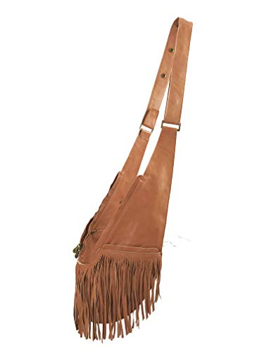 Womens Crossbody Bag by SASH - Over The Shoulder Cross Body Purse w/Compact Organized Storage, Anti Theft RFID & Adjustable Strap, Perfect for Travel or Everyday Use (Caramel Fringe Genuine Leather)