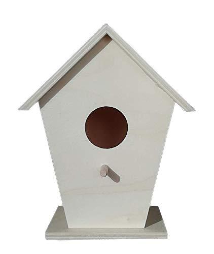 Casa pajaros. En madera en crudo, para pintar. Alto: 18 cms. Ancho: 14 cms. Fondo: 11 mcs. Casita pajaros.: Amazon.es: Hogar