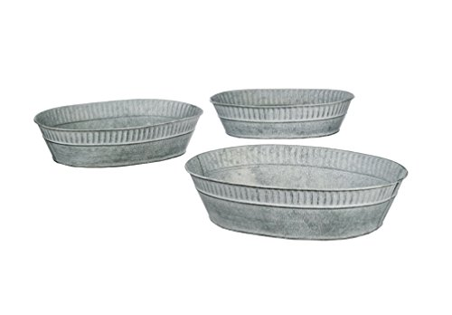 Metal Oblong - Set of 3 Assorted Sullivans Galvanized Metal Oblong Bucket Trays