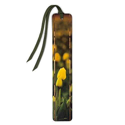 New Tulips - Photograph by Mike DeCesare on Solid Cherry Wood Bookmark with Tassel