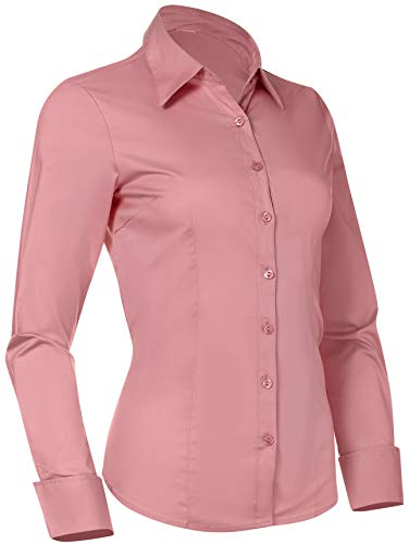 Button Down Shirts for Women, Fitted Long Sleeve Tailored Work Office Blouse (X-Large, Pink)