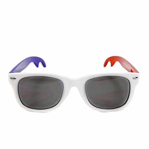 The Patriots - Red, White and Blue Wayfarer Sunglasses with Built-in Bottle (Patriot Red White Blue Frame)