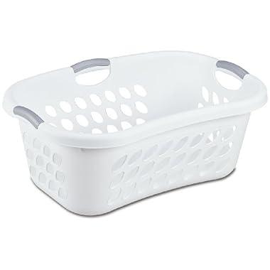 Sterilite 12108006 1.25 Bushel/ 44 Liter Ultra HipHold Laundry Basket, White Basket w/ Titanium Inserts, 6-Pack