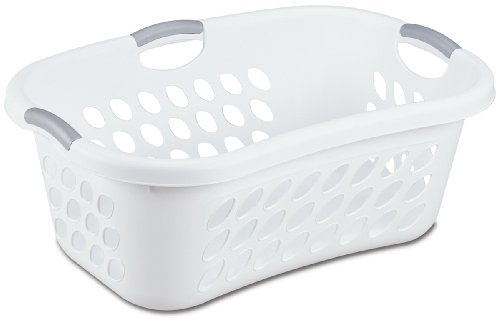 Sterilite Hip Hold Laundry Basket, White Basket w/ Titanium Inserts, 6-Pack