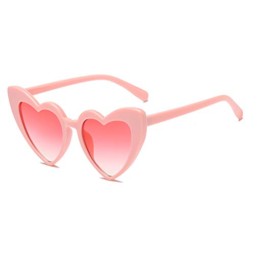 Heart-Shaped Sunglasses Women Vintga Black Pink Red Heart Shape Sun Glasses (C4) ()