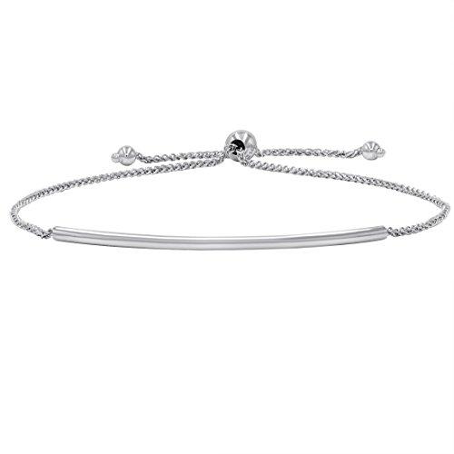 Amanda Rose Bar Bolo Bracelet in 14k White Gold (Adjustable)