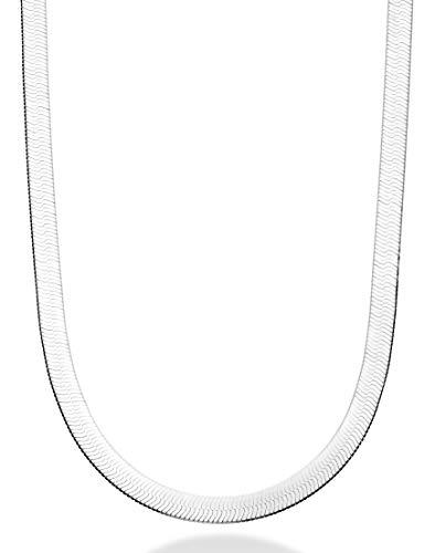 MiaBella 925 Sterling Silver Italian Solid 7mm Flat Herringbone Chain Necklace for Men Women 16