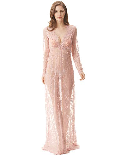 cunlin Cover Up for Women Sexy See Through Lace Gown Maxi Maternity Dress Photography Props Pink XL