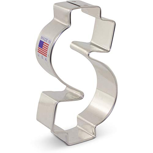 Dollar Sign/Money Cookie Cutter - 3.625 Inch - Ann Clark - USA Made Steel Dollar Sign Cookie Cutter