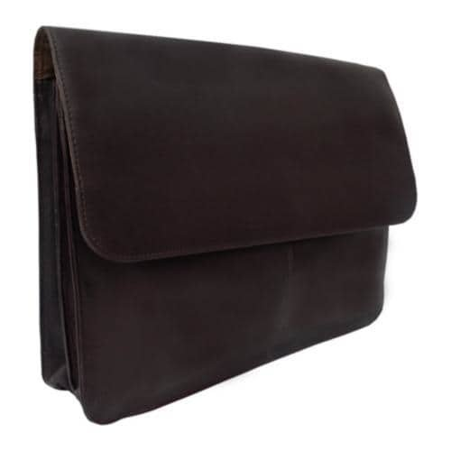 Piel Leather Three Section Flap Portfolio 9721 Chocolate Leather