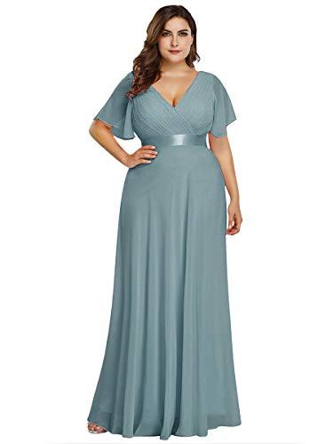 Women's Vintage Wedding Bridesmaid Evening Long Dress Plus Size Cyan US26