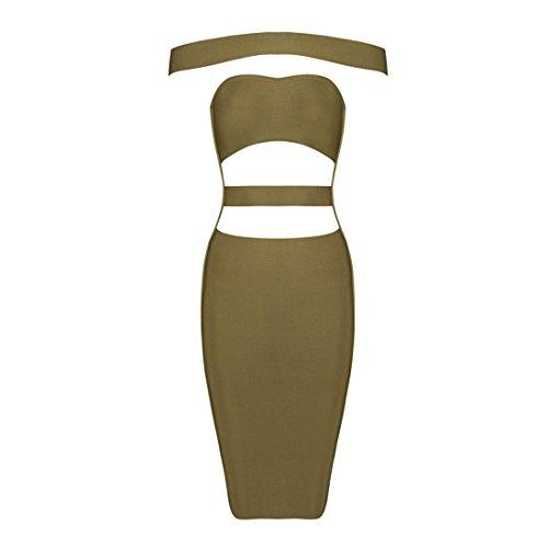 Rayón Vestido Hlbcbg Bodycon Cóctel Vendaje Mujer Verde 2269 De La Fiesta HxAAFqYd