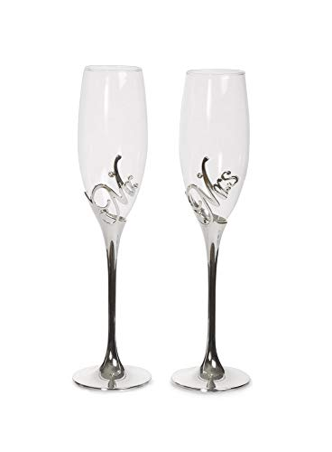 Pavilion Gift Company Glorious Occasions Mr. & Mrs. Wedding Toast Champagne Glass Flute Set, 8 oz, Silver ()