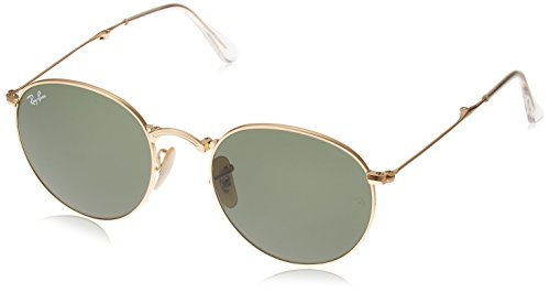 Ray-Ban METAL MAN SUNGLASS - GOLD Frame LIGHT BROWN MIRROR PINK Lenses 47mm - Ban Ray Pink Round Folding