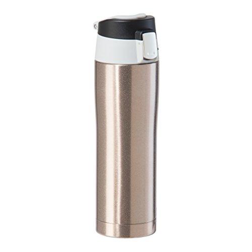 Oggi 8078.4 Double Wall Vacuum Sealed Stainless Steel Travel Mug with Flip-Open Locking Lid (0.5 Lt./16 Oz.)-Champagne
