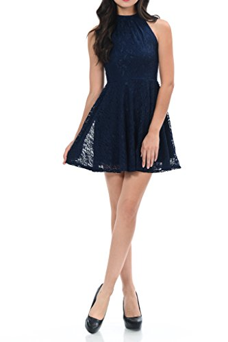 (Auliné Collection Womens Halter Sleeveless Floral Lace Skater Dress Navy Blue Medium)