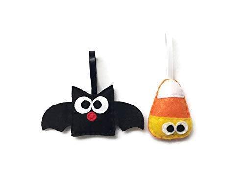 Bat and Candy Corn Halloween Ornament -