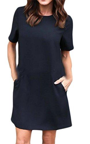 Couleur Unie Des Femmes Domple Partie Col Rond Coupe Ample Mini-robe Noire