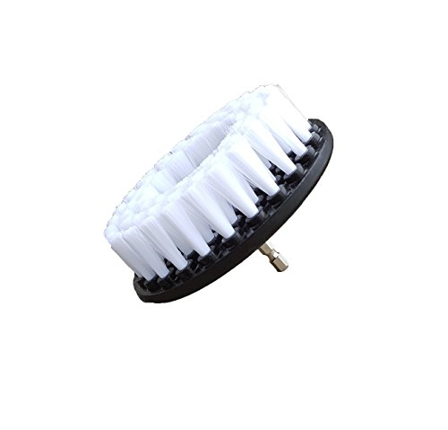 Bring It On Cleaning 5 Inch Flat Drill Brush, Clean Tile and Grout, Clean Stone and Brick, Clean Rims, Shower Pans and Tubs, Sinks and Floors. Drill Scrub Brush (White) by Drill Brushes