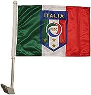 "ITALIA ITALY Country , 4 Stars , FIGC Logo 12"" x 18"" Inch CAR STICK FLAG BAN"