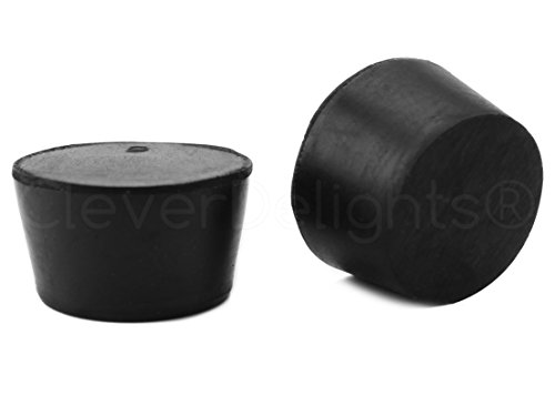 3 Pack - CleverDelights Solid Rubber Stoppers - Size 9 - 45mm x 37mm - 30mm Long - Black Lab Plug (Cork Rubber Stopper)