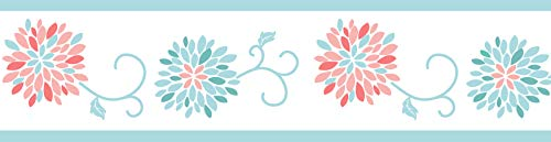(Sweet Jojo Designs Childrens and Teens Wall Paper Border for Modern Turquoise and Coral Emma Bedding Collection)