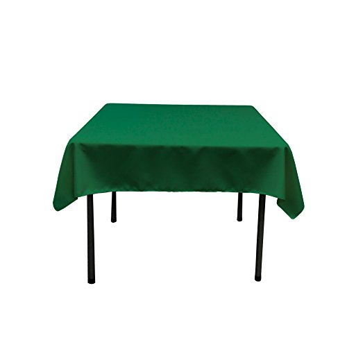LA Linen Polyester Poplin Square Tablecloth, 58 by 58-Inch, Emerald -