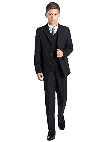 (Shiny Penny Boys Formal 5 Piece Suit Set with Shirt & Vest, Boys Black Suit, 8)