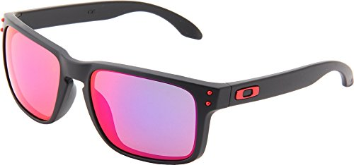 Oakley Holbrook OO9102-36 Iridium Sport Sunglasses,Matte Black/Positive Red Iridium,55 - Holbrook Sunglasses Oakley