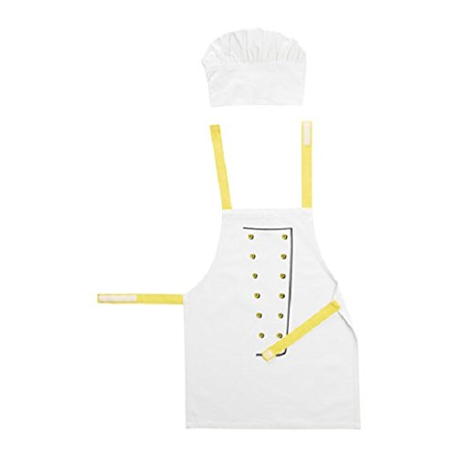 TOPPKLOCKA Children's apron with chef's hat, white/yellow