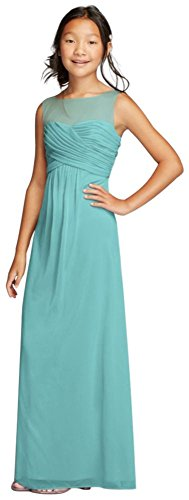 David's Bridal Long Mesh Dress with Illusion Tank Ruched Bodice Style JB9010, Spa, 18