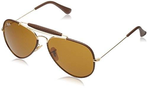 Ray-Ban Men's Craft Aviator Sunglasses, Leather Brown, 58 - Leather Sunglasses Ray Ban