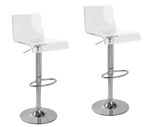 2 x Acrylic Hydraulic Lift Adjustable Counter Bar Stool Dining Chair Clear -Pack of 2 (2012) (Bar And Dining)