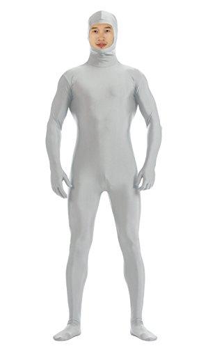 JustinCostume Men's Spandex Open Face Zentai Bodysuit, L, Gray Goose (Body Suit Costume)
