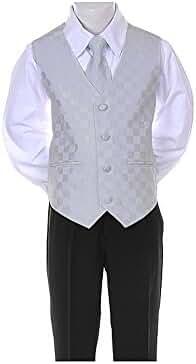 6-Piece Formal Boy's Black Suit Checkered Vest Tie 8 Colors (Infant-20)
