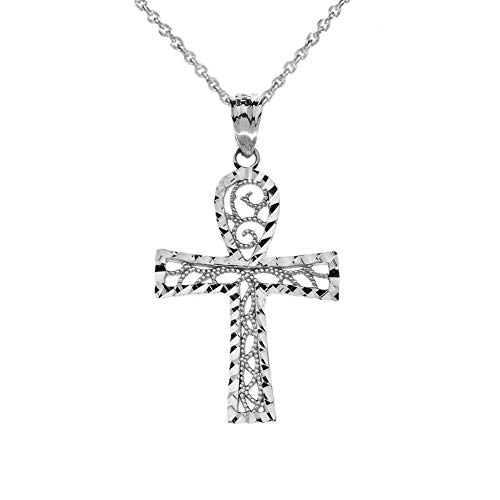 Exquisite Sterling Silver Sparkle-Cut and Filigree-Style Ankh Cross Pendant Necklace, 16