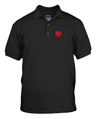 Albanian Eagle Flag Country Embroidery Embroidered Unisex Adult Golf Polo Shirt Black Large (Eagle Embroidery Flag)