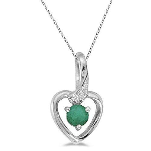 Collier pendentif en forme de coeur et émeraude vert or blanc 14 carats, collier coeur en or massif avec diamant - cœur moyen. Bijoux Saint Valentin