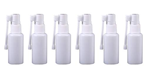 6PCS White Refill 360 Degree Plastic Cosmetic Travel Packing Nasal Spray Bottle Jar Pots Perfume Makeup Water Storage Holder Container Sprayers for Colloidal Silverand Saline Applications(20ml/0.7oz)