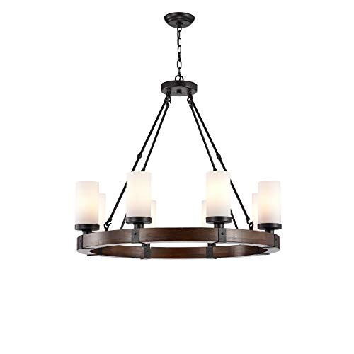 Glass Wood Chandelier - Jojospring Daniela Antique Black Round Wood Chandelier with Frosted Glass Globes