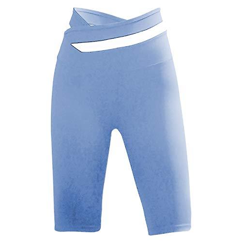 Sweatpants,Cycling Pants Short High Waist Slimming Stretch Yoga Leggings(Blue,L)