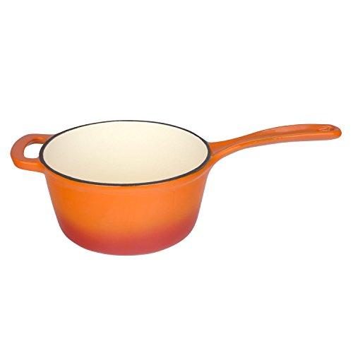 Zelancio 2.5 Quart Cast Iron Enamel Sauce Pan Pot Covered Sauce Pot (Tangerine Orange)