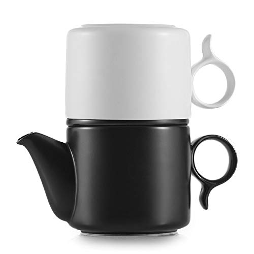 ZENS Tea for One Teapot and Cup Set, Ceramic Tea for One with Flast Infuser for Loose Tea, 8.5 Ounce Single Matte Porcelain Tea Pot Black & White for Office