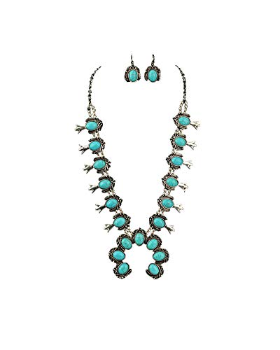 Jayde N' Grey Navajo Southwestern Squash Blossom Tribal Turquoise Necklace (Turquoise XL)