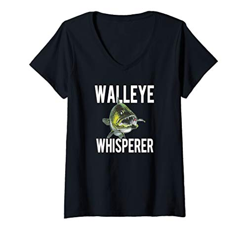 Womens Walleye Whisperer Fishing Jigs Lures Tackle New Pro Walleye V-Neck T-Shirt