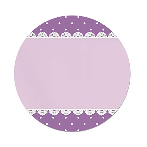iPrint Polyester Round Tablecloth,Mauve Decor,Old Fashion Ornate Lace Pattern with Classical Polka Dots Background Image,Lilac Lavender,Dining Room Kitchen Picnic Table Cloth Cover,for Outdoor Indoor -