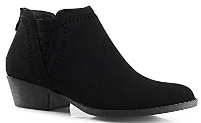 Perforated Laser Cut Out Stacked Zotty Chunky Low Heel Ankle Bootie - Side V-Cut Back Zipper Boots BLK PU 5